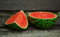 a watermelon cut in half